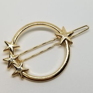 3/$10 Gold hair clip circle stars new nwt